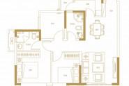 天健书香名邸A3户型建面约90㎡两房两厅两卫