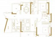 天健书香名邸A4户型建面约91㎡两房两厅两卫