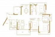 天健书香名邸A1户型建面约123㎡三房两厅两卫