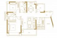 天健书香名邸A2户型建面约93㎡两房两厅两卫