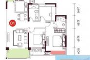 惠州依云小镇在售7栋01户型,两房两厅一卫,80平方