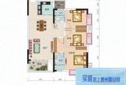 惠州长裕罗浮嘉园2栋2单元01户型, 3室2厅2卫1厨, 建筑面积约94.00平米