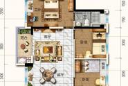 惠州碧桂园雅豪轩99㎡户型, 3室2厅2卫1厨, 建筑面积约99.20平米