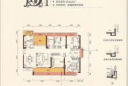 惠州中洲天御D1户型,4+1房2厅2卫,142平方
