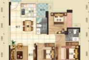 惠州云峰G户型, 3室2厅2卫, 建筑面积约101.95平方