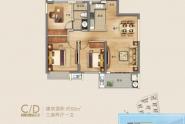惠州新力帝泊湾C/D户型约92㎡ 三房两厅一卫