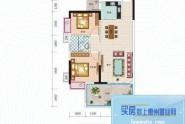 惠州长裕罗浮嘉园1栋1-4户型, 2室2厅1卫1厨, 建筑面积约78.00平米