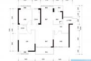惠州实地常春藤B4户型, 3室2厅2卫1厨, 建筑面积约115.00平米