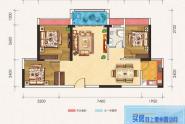 惠州百基宸庭03户型建面约78㎡3房2厅1卫