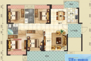 惠州云峰B户型, 4室2厅2卫, 建筑面积约132.69平方