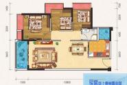 惠州百基宸庭02户型建面约95㎡3房2厅1卫