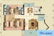 惠州云峰F户型, 3室2厅2卫, 建筑面积约115平方