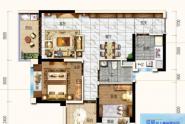 惠州碧桂园雅豪轩76㎡户型, 2室2厅1卫1厨, 建筑面积约76.26平米
