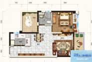 惠州碧桂园雅豪轩66㎡户型, 1室2厅1卫1厨, 建筑面积约66.09平米