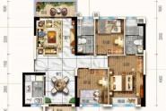 惠州碧桂园雅豪轩98㎡户型, 3室2厅2卫1厨, 建筑面积约98.11平米