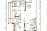 惠州隆生仲恺花园C2户型, 3室2厅2卫1厨, 建筑面积约113.00平米