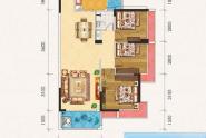 惠州百基宸庭05户型建面约95㎡3房2厅1卫