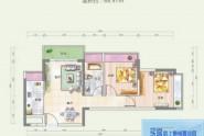 惠州悦玺公馆05户型2房2厅2卫 建面约68.97平米