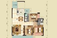 惠州云峰E户型, 3室2厅2卫, 建筑面积约114平方