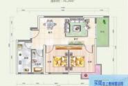 惠州悦玺公馆04户型2房2厅2卫 建面约76.29平米