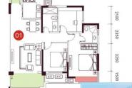 惠州依云小镇在售6栋01户型,三房两厅两卫,113平方