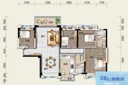 惠州碧桂园太东公园上城B1户型, 4室2厅2卫, 建筑面积约128.00平米